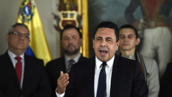 """Venezuelan Foreign Minister Daniel Moncada speaks during a press conference in Caracas on July 18, 2017. US President Donald Trump threatened Venezuela with swift """"economic actions"""" on Monday if its leader pushes on with an unpopular bid to change his country's constitution amid mounting condemnation. / AFP PHOTO / JUAN BARRETO (Photo credit should read JUAN BARRETO/AFP/Getty Images)"""