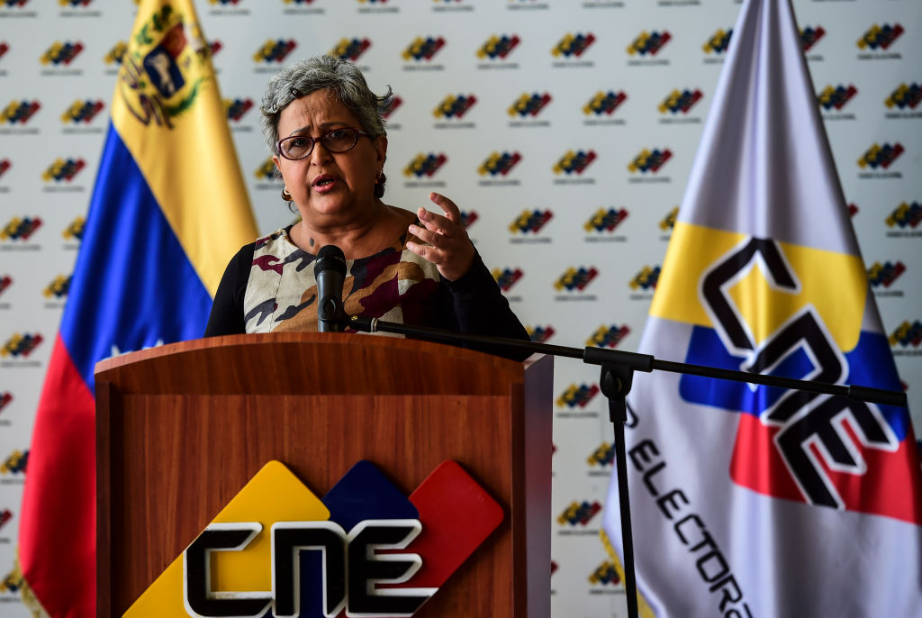 The head of Venezuela's National Electoral Council (CNE) Tibisay Lucena, speaks during a press conference in Caracas, on July 25, 2017. On Sunday things between the two sides are expected to come to a head. That's when Maduro is to hold a controversial election to choose 545 members for a body called the Constituent Assembly, tasked with rewriting the constitution drafted under his late predecessor Hugo Chavez. / AFP PHOTO / RONALDO SCHEMIDT (Photo credit should read RONALDO SCHEMIDT/AFP/Getty Images)