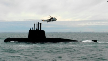 On this 2013 file picture released by Argentina Navy, the ARA San Juan, a German-built diesel-electric vessel, near in Buenos Aires , Argentina. Argentina's navy said Friday it has lost contact with a submarine off the country's southern coast. The navy's Twitter feed said that communications were lost 48 hours ago with at least 40 people aboard. (AP Photo/HO Argentina Navy )