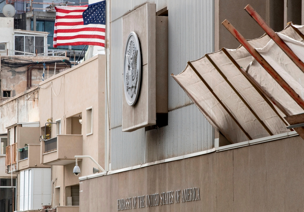 A picture shows the exterior of the US embassy in Tel Aviv on December 6, 2017. President Donald Trump is set to recognise Jerusalem as Israel's capital, upending decades of careful US policy and ignoring dire warnings from Arab and Western allies alike of a historic misstep that could trigger a surge of violence in the Middle East. / AFP PHOTO / JACK GUEZ (Photo credit should read JACK GUEZ/AFP/Getty Images)