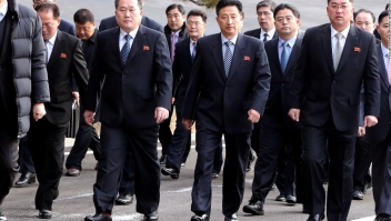 <> on January 9, 2018 in Panmunjom, South Korea. South and North Korea are scheduled to begin their first official face-to-face talks in two years on Tuesday, January 9, 2017.