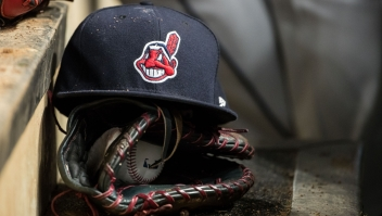 MINNEAPOLIS, MN- APRIL 17: A Cleveland Indians hat with Chief Wahoo against the Minnesota Twins on April 17, 2017 at Target Field in Minneapolis, Minnesota. The Indians defeated the Twins 3-1. (Photo by Brace Hemmelgarn/Minnesota Twins/Getty Images) *** Local Caption ***