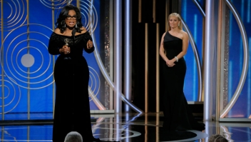 BEVERLY HILLS, CA - JANUARY 07: In this handout photo provided by NBCUniversal, Oprah Winfrey accepts the 2018 Cecil B. DeMille Award during the 75th Annual Golden Globe Awards at The Beverly Hilton Hotel on January 7, 2018 in Beverly Hills, California. (Photo by Paul Drinkwater/NBCUniversal via Getty Images)