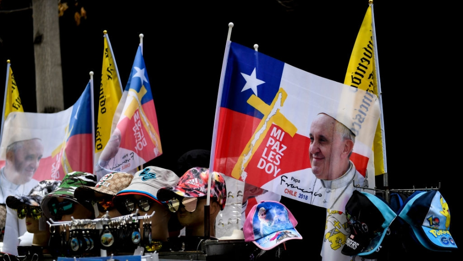 Merchandise depicting Pope Francis is sold in Santiago ahead of the pontiff's visit to Chile, on January 13, 2018. Pope Francis will be visiting Chile from January 15 to 18. / AFP PHOTO / MARTIN BERNETTI (Photo credit should read MARTIN BERNETTI/AFP/Getty Images)