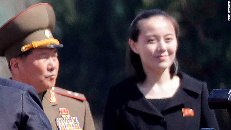 In this April 13, 2017, photo, Kim Yo Jong, right, sister of North Korean leader Kim Jong Un, is pictured during the official opening of the Ryomyong residential area, a collection of more than a dozen apartment buildings, in Pyongyang, North Korea. South Korea???s Unification Ministry said North Korea informed Wednesday, Feb. 7, 2018, that Kim Yo Jong would be part of the high-level delegation coming to the South for the Pyeongchang Winter Olympics. (AP Photo/Wong Maye-E)