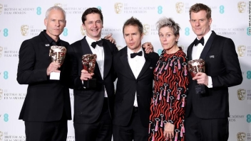 in the press room during the EE British Academy Film Awards (BAFTAs) held at Royal Albert Hall on February 18, 2018 in London, England.