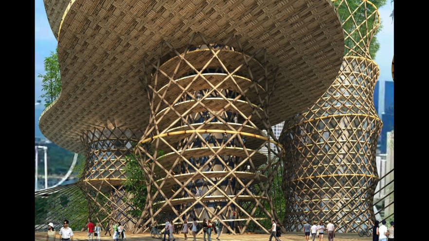 El bambú fue reconocido recientemente por Naciones Unidas como un material de construcción verde que puede ayudar a combatir el cambio climático. Foto: CRG Architects.