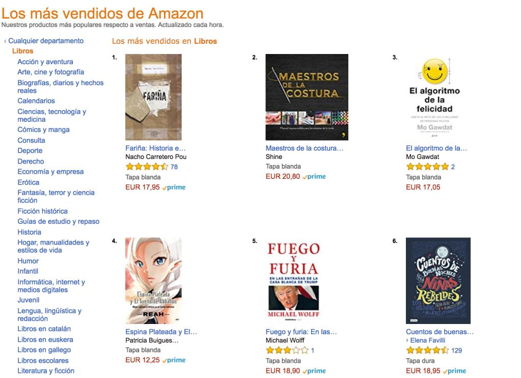 Libros más vendidos en Amazon en España el 21 de febrero de 2017