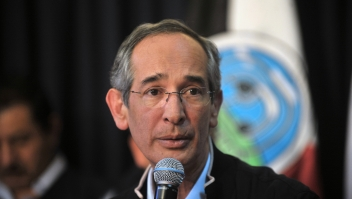 Guatemalan President Alvaro Colom speaks during a press conference on October 14, 2011 in Guatemala City. Guatemala remains under red alert as President Colom informed about the death of 22 people, as a result of torrential rains. AFP PHOTO / Johan Ordonez (Photo credit should read JOHAN ORDONEZ/AFP/Getty Images)
