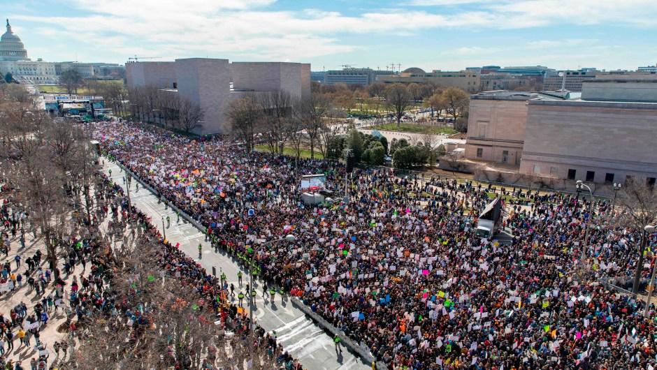 Así se ve la multitud congregada para la Marcha por Nuestras Vidas desde el tejado del Newseum en Washington (Crédito: ALEX EDELMAN/AFP/Getty Images)