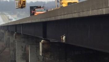 El curioso rescate de dos intrépidas cabras en un puente