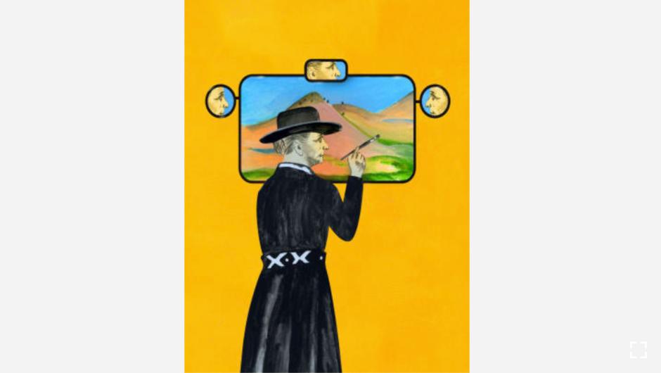 """La artista Georgia O'Keeffe a menudo convertía su Ford Model A en su estudio de pintura. Usaba el respaldo de los asientos como caballete. (Crédito: """"Recipes for Good Luck"""", por Ellen Weinstein, publicado por Chronicle Books 2018)."""