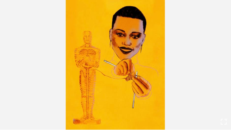 "La actriz Lupita Nyong'o reveló que ella a menudo teje en su camerino antes de salir al escenario. (Crédito: ""Recipes for Good Luck"", por Ellen Weinstein, publicado por Chronicle Books 2018)."