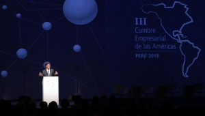 Interamerican Development Bank (BID) President Luis Alberto Moreno delivers a speech during the inauguration of the III Americas Business Summit in Lima, on April 12, 2018. / AFP PHOTO / Luka GONZALES (Photo credit should read LUKA GONZALES/AFP/Getty Images)