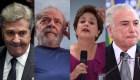 De izquierda a derecha: Fernando Affonso Collor de Mello, Luiz Inácio Lula da Silva, Dilma Rousseff y Michel Temer.