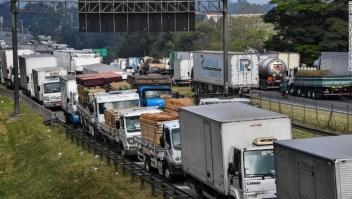 Huelga de camioneros en Sao Paulo, Brasil