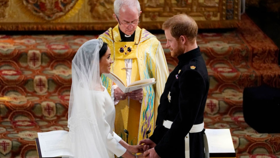 El momento de los votos matrimoniales entre los dos novios. (Photo by Owen Humphreys - WPA Pool/Getty Images)