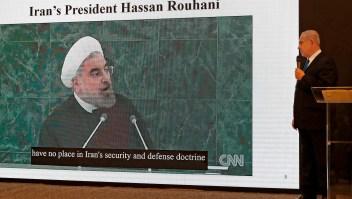 Presentación de Netanyahu en la que acusó a Irán de mentir sobre su programa nuclear. (Crédito: JACK GUEZ/AFP/Getty Images)