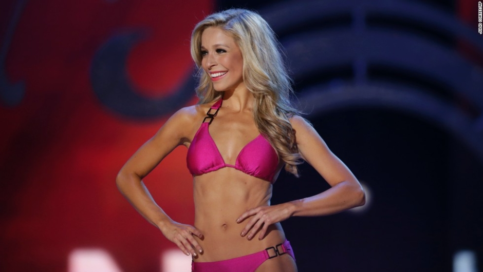 Miss New York Kira Kazantsev displays her swimsuit during the Miss America 2015 pageant, Sunday, Sept. 14, 2014, in Atlantic City, N.J. (AP Photo/Julio Cortez)