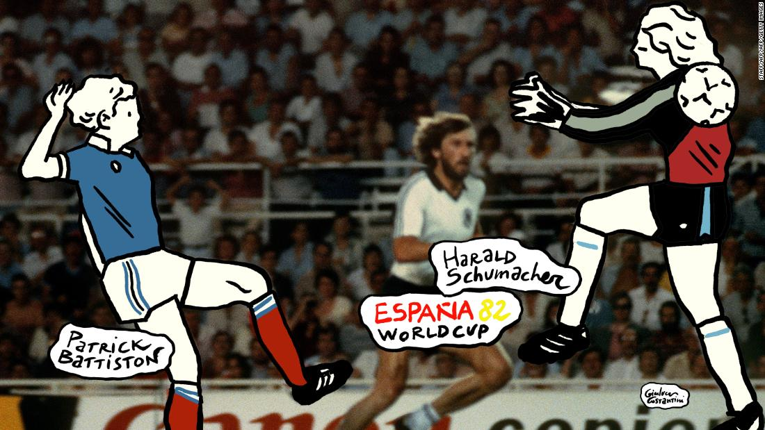 Argentinian forward Diego Armando Maradona (3rd L) runs past English defender Terry Butcher (L) on his way to dribbling goalkeeper Peter Shilton (R) and scoring his second goal, or goal of the century, during the World Cup quarterfinal soccer match between Argentina and England on June 22, 1986 in Mexico City. Argentina advanced to the semifinals with a 2-1 victory. (Photo credit should read STAFF/AFP/Getty Images)