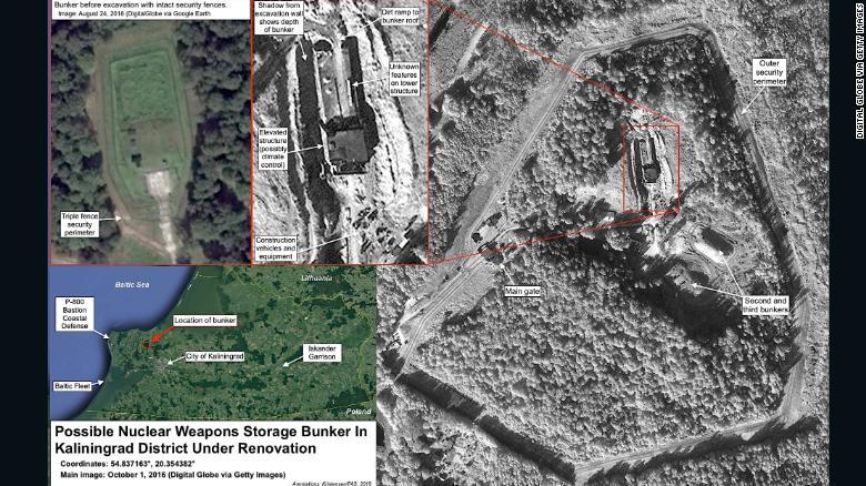 Una imagen de satélite de la Federación de Científicos Estadounidenses que aparentemente muestra un búnker de almacenamiento de armas nucleares enterrado en la región de Kaliningrado, que según el grupo ha estado en obras de renovación desde mediados de 2016.
