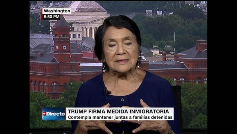 Dolores Huerta hace críticas a política inmigratoria de Donald Trump