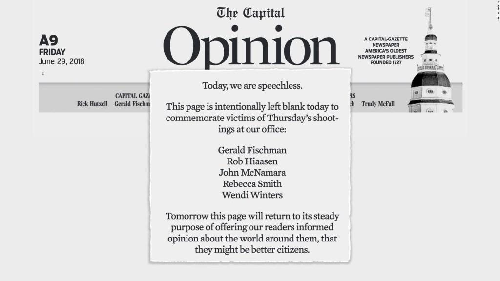 """Capital Gazzete deja página en blanco: """"Estamos sin palabras"""""""