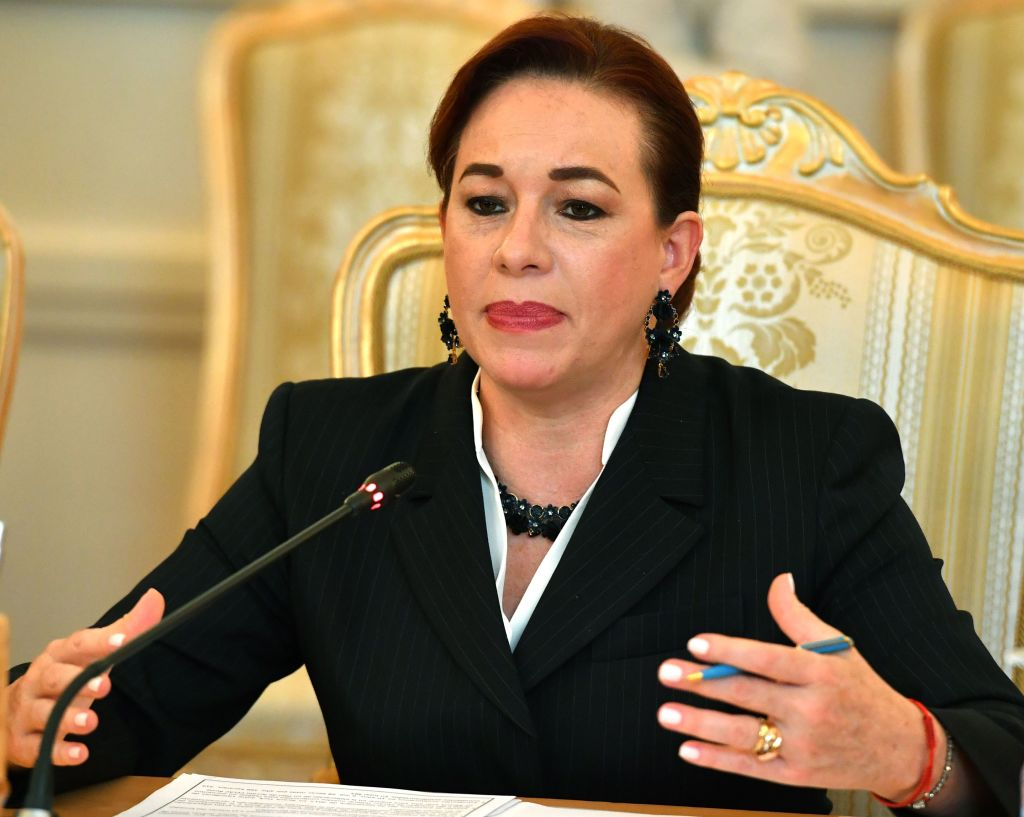 Ecuador's Foreign Minister Maria Fernanda Espinosa speaks with her Russian counterpart during their meeting in Moscow on May 16, 2018. (Photo by Yuri KADOBNOV / AFP) (Photo credit should read YURI KADOBNOV/AFP/Getty Images)