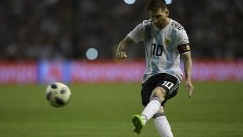 Messi en un partido amistoso que enfrentó a Argentina contra Haití el 29 de Mayo de 2018. (Crédito: JUAN MABROMATA/AFP/Getty Images)