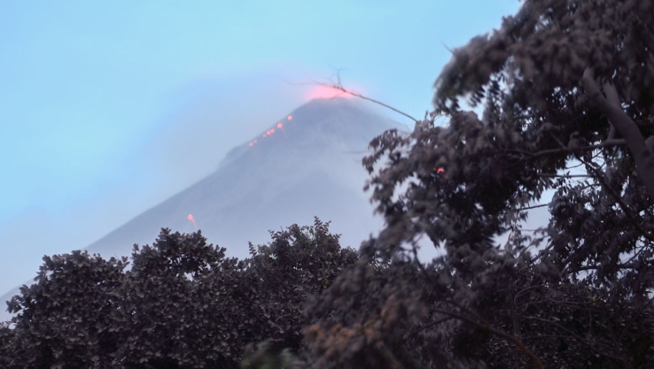 The Fuego Volcano in eruption, seen from Los Lotes, Rodeo, in Escuintla about 35km south of Guatemala City, on June 4, 2018. - Emergency workers will resume the search on Monday for Guatemalans missing after the eruption of the Fuego volcano, which belched out clouds of ash and flows of lava and left at least 25 people dead. (Photo by Johan ORDONEZ / AFP) (Photo credit should read JOHAN ORDONEZ/AFP/Getty Images)