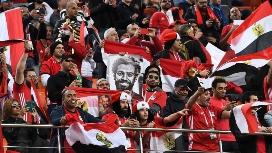Egypt fans are seen ahead of kick off of the Russia 2018 World Cup Group A football match between Egypt and Uruguay at the Ekaterinburg Arena in Ekaterinburg on June 15, 2018. (Photo by Anne-Christine POUJOULAT / AFP) / RESTRICTED TO EDITORIAL USE - NO MOBILE PUSH ALERTS/DOWNLOADS (Photo credit should read ANNE-CHRISTINE POUJOULAT/AFP/Getty Images)