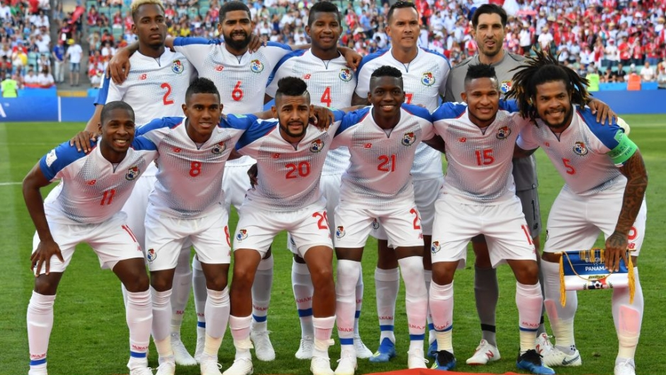(Front Row from L) Panama's midfielder Armando Cooper, Panama's midfielder Edgar Barcenas, Panama's midfielder Anibal Godoy, Panama's midfielder Jose Luis Rodriguez, Panama's defender Erick Davis, Panama's defender Roman Torres, (back row from L) Panama's defender Michael Murillo, Panama's midfielder Gabriel Gomez, Panama's defender Fidel Escobar, Panama's forward Blas Perez and Panama's goalkeeper Jaime Penedo pose prior to the Russia 2018 World Cup Group G football match between Belgium and Panama at the Fisht Stadium in Sochi on June 18, 2018. (Photo by Nelson Almeida / AFP) / RESTRICTED TO EDITORIAL USE - NO MOBILE PUSH ALERTS/DOWNLOADS (Photo credit should read NELSON ALMEIDA/AFP/Getty Images)