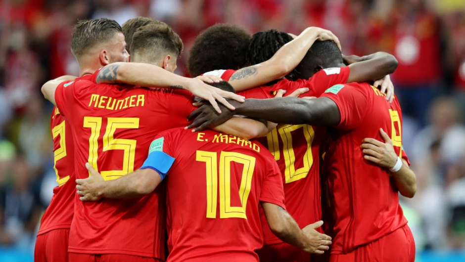 SOCHI, RUSSIA - JUNE 18: Romelu Lukaku of Belgium celebrates after scoring his side's second goal with team mates during the 2018 FIFA World Cup Russia group G match between Belgium and Panama at Fisht Stadium on June 18, 2018 in Sochi, Russia. (Photo by Richard Heathcote/Getty Images)