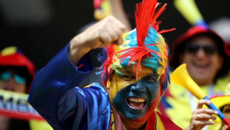 SARANSK, RUSSIA - JUNE 19: A Colombia fan enjoys the pre match atmosphere prior to the 2018 FIFA World Cup Russia group H match between Colombia and Japan at Mordovia Arena on June 19, 2018 in Saransk, Russia. (Photo by Clive Mason/Getty Images)