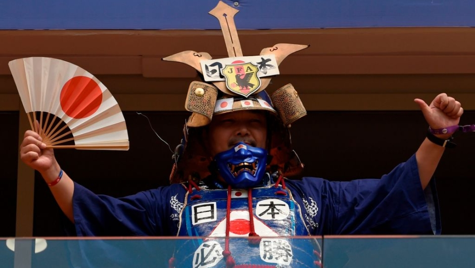A Japanese fan dressed as a Samurai poses before the Russia 2018 World Cup Group H football match between Colombia and Japan at the Mordovia Arena in Saransk on June 19, 2018. (Photo by JUAN BARRETO / AFP) / RESTRICTED TO EDITORIAL USE - NO MOBILE PUSH ALERTS/DOWNLOADS (Photo credit should read JUAN BARRETO/AFP/Getty Images)