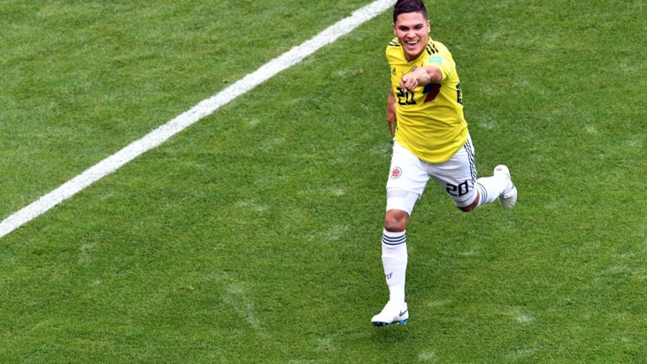 Colombia's midfielder Juan Quintero celebrates after scoring the equalizer during the Russia 2018 World Cup Group H football match between Colombia and Japan at the Mordovia Arena in Saransk on June 19, 2018. (Photo by Mladen ANTONOV / AFP) / RESTRICTED TO EDITORIAL USE - NO MOBILE PUSH ALERTS/DOWNLOADS (Photo credit should read MLADEN ANTONOV/AFP/Getty Images)