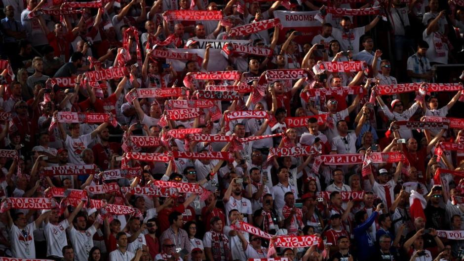MOSCOW, RUSSIA - JUNE 19: Fans of Poland enjoy the pre match atmosphere during the 2018 FIFA World Cup Russia group H match between Poland and Senegal at Spartak Stadium on June 19, 2018 in Moscow, Russia. (Photo by Laurence Griffiths/Getty Images)