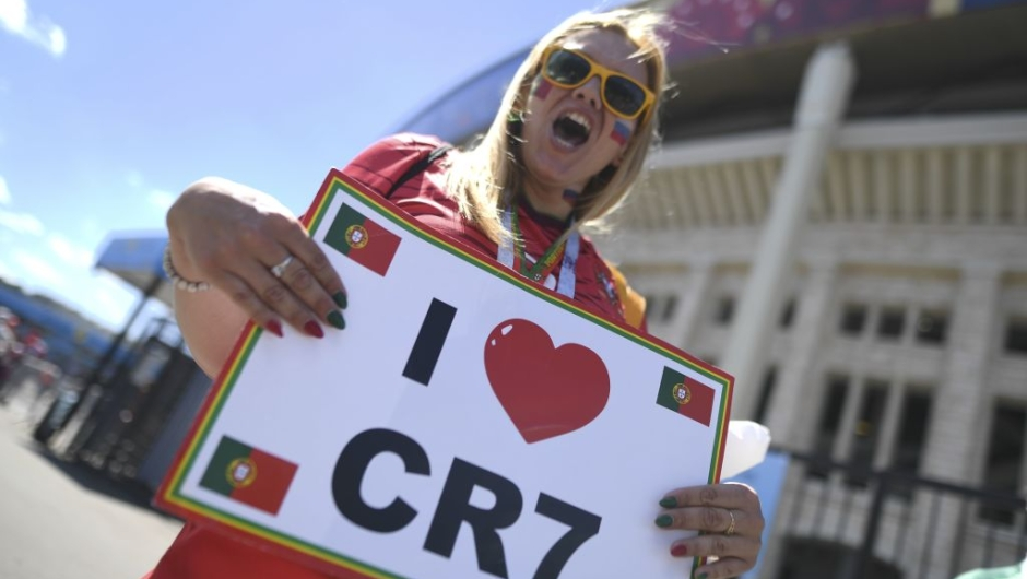 A Portugal's fan chants as she arrives at the stadium prior to the Russia 2018 World Cup Group B football match between Portugal and Morocco at the Luzhniki Stadium in Moscow on June 20, 2018. (Photo by Kirill KUDRYAVTSEV / AFP) / RESTRICTED TO EDITORIAL USE - NO MOBILE PUSH ALERTS/DOWNLOADS (Photo credit should read KIRILL KUDRYAVTSEV/AFP/Getty Images)