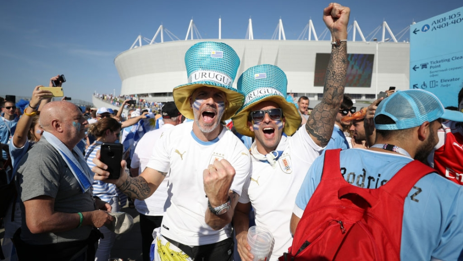 ROSTOV-ON-DON, RUSSIA - JUNE 20: Uruguay fans enjoy the pre match atmosphere prior to the 2018 FIFA World Cup Russia group A match between Uruguay and Saudi Arabia at Rostov Arena on June 20, 2018 in Rostov-on-Don, Russia. (Photo by Clive Rose/Getty Images)