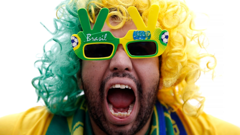 SAINT PETERSBURG, RUSSIA - JUNE 22: A Brazil fan enjoys the pre match atmosphere prior to the 2018 FIFA World Cup Russia group E match between Brazil and Costa Rica at Saint Petersburg Stadium on June 22, 2018 in Saint Petersburg, Russia. (Photo by Julian Finney/Getty Images)