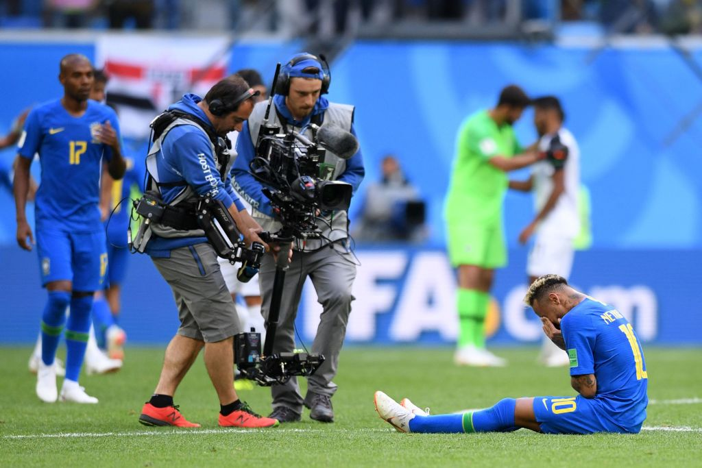 Brazil's forward Neymar (R) reacts to his team's victory during the Russia 2018 World Cup Group E football match between Brazil and Costa Rica at the Saint Petersburg Stadium in Saint Petersburg on June 22, 2018. (Photo by OLGA MALTSEVA / AFP) / RESTRICTED TO EDITORIAL USE - NO MOBILE PUSH ALERTS/DOWNLOADS (Photo credit should read OLGA MALTSEVA/AFP/Getty Images)