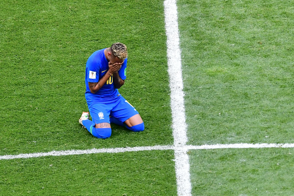 Brazil's forward Neymar cries at the end of the Russia 2018 World Cup Group E football match between Brazil and Costa Rica at the Saint Petersburg Stadium in Saint Petersburg on June 22, 2018. (Photo by Giuseppe CACACE / AFP) / RESTRICTED TO EDITORIAL USE - NO MOBILE PUSH ALERTS/DOWNLOADS (Photo credit should read GIUSEPPE CACACE/AFP/Getty Images)