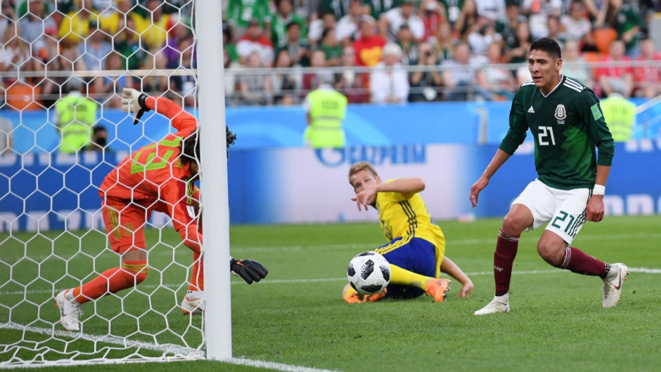 YEKATERINBURG, RUSSIA - JUNE 27: Edson Alvarez of Mexico scores an own goal to put Sweden 3-0 during the 2018 FIFA World Cup Russia group F match between Mexico and Sweden at Ekaterinburg Arena on June 27, 2018 in Yekaterinburg, Russia. (Photo by Matthias Hangst/Getty Images)