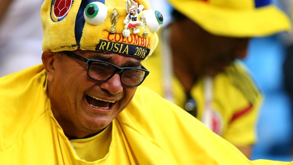 Lágrimas de emoción de un fanático de Colombia durante el partido. (Crédito: Maddie Meyer/Getty Images)