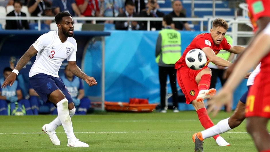 Adnan Januzaj dispara y marca gol de Bélgica en el partido contra Panamá. (Crédito: Ryan Pierse/Getty Images)