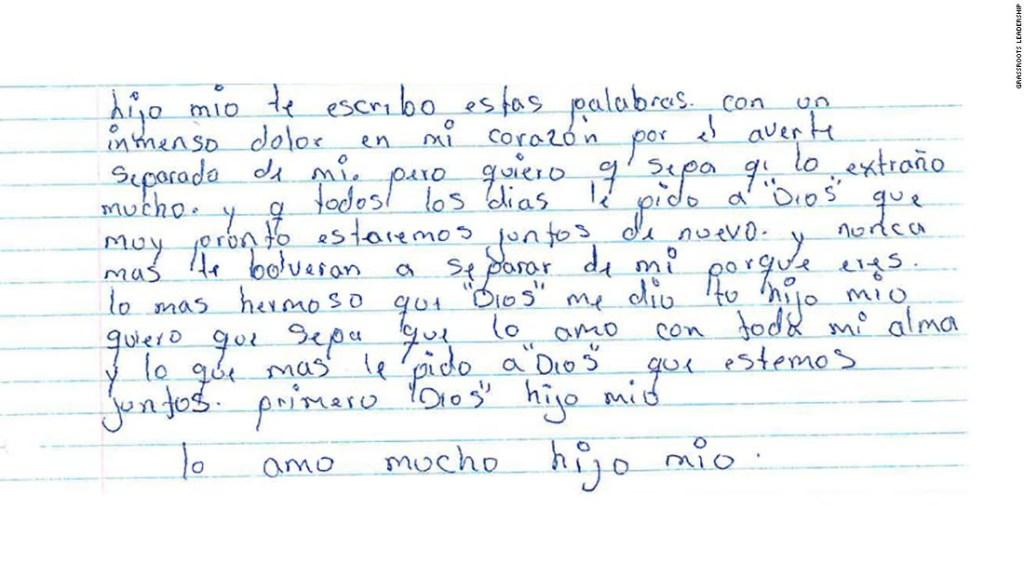Carta de una mujer desde un centro de inmigración en Estados Unidos