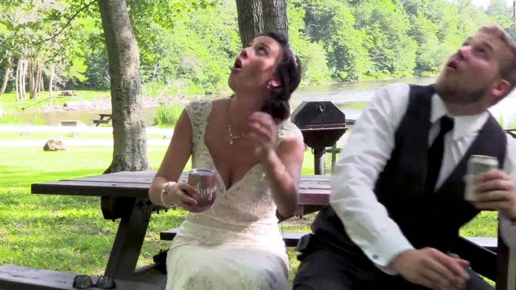 Una rama casi aplasta a los novios el día de su boda