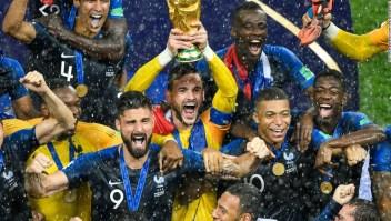 La selección de Francia celebra tras ganar el Mundial de Fútbol de Rusia 2018