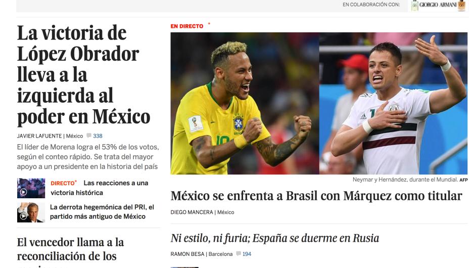 Portada digital del diario El País en España con la victoria de AMLO en las presidenciales de México.