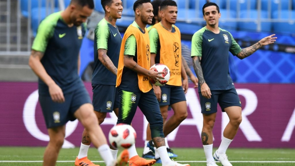 Brazil's forward Neymar (3rd L) and teammates take part in a training session at the Samara Arena in Samara on July 1, 2018, on the eve of their Russia 2018 World Cup round of 16 football match against Mexico. (Photo by Fabrice COFFRINI / AFP) (Photo credit should read FABRICE COFFRINI/AFP/Getty Images)